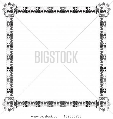 Square black ornate frame, interlaced lines, lattice.