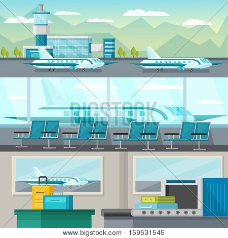 Set of orthogonal horizontal banners with airport interiors and airfield isolated vector illustration