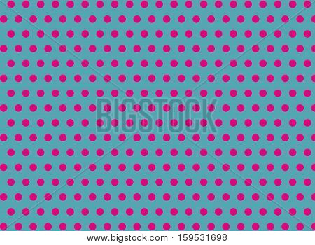 Pink dots on a blue background abstract pattern Pop art style Dots background Symmetrical dots background