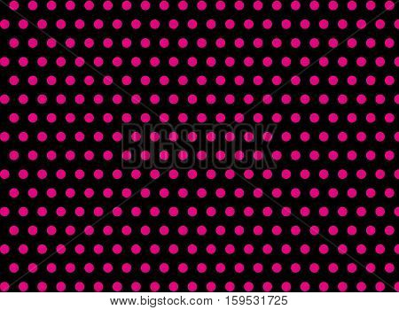 Pink dots on a black background abstract pattern Pop art style Dots background Symmetrical dots background