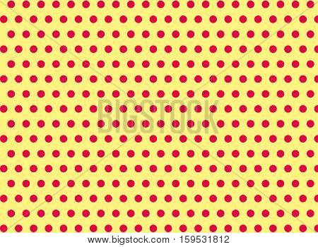 Pink dots on a yellow background abstract pattern Pop art style Dots background Symmetrical dots background