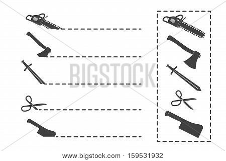 Silhouettes of Vector scissors with Cut Here dashed lines.