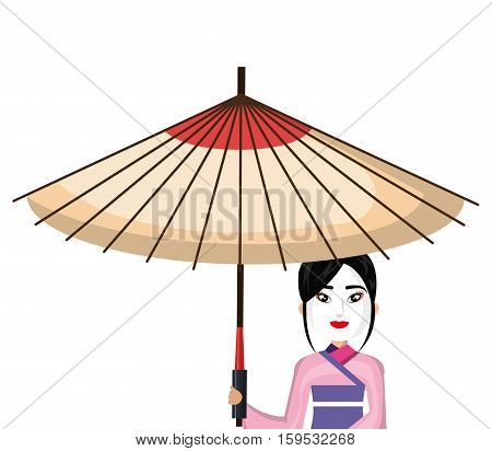 beautiful geisha japan character with umbrella vector illustration design
