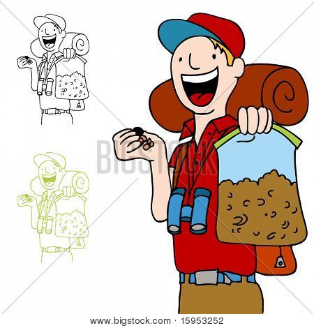 An image of a hiker with a bag of trailmix snack.