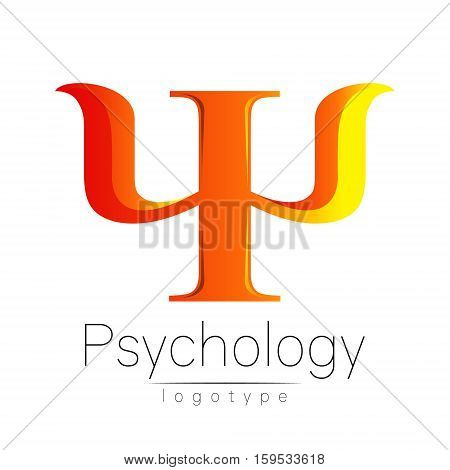 Modern logo of Psychology. Psi. Creative style. Logotype in vector. Design concept. Brand company. Orange color letter on white background. Symbol for web, print, card, flyer. Bright