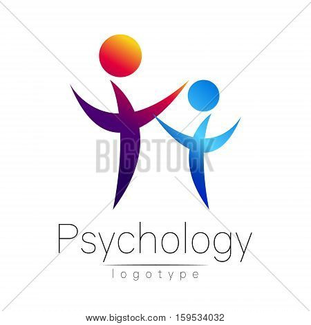 Modern people psi logo of Psychology. Family Human. Creative style. Logotype in vector. Design concept. Brand company. Violet blue color isolated on white background. Symbol for web, print