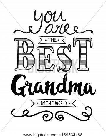 You are the best Grandma in the World Typographic Art Award Printable Poster Card Graphic