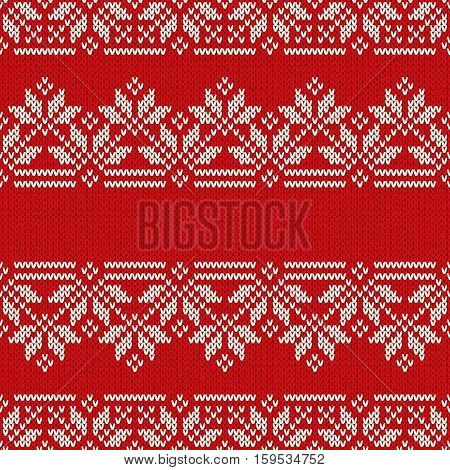 Traditional Fair Isle Style Seamless Knitted Pattern. Christmas and New Year Design Knitting Background with a Place for Text