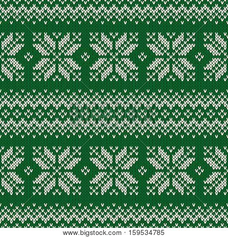 Traditional Fair Isle Style Seamless Knitted Pattern. Christmas and New Year Design Knitting Sweater Design