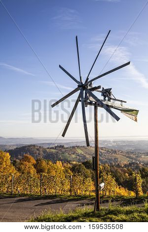 Klapotetz windmill on Schilcher wine route in western Styria in Austria Europe