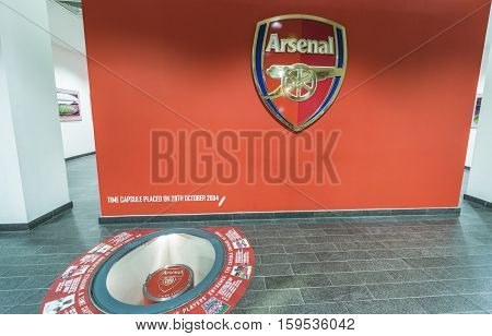 LONDON, THE UK - MAY 2016: Behind the curtains of the Emirates Arena - the official  playground of FC Arsenal