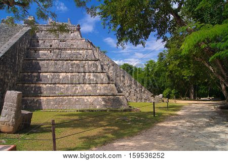Mayan pyramid in a jungle in Mexico