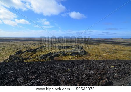 Moss covered lava field surrounding Eldborg Crater in Iceland.