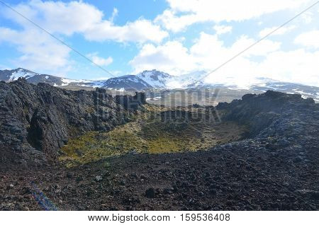 Take a look at the glaciers and mountains from a volcanic crater in Iceland.