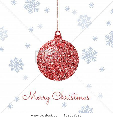 Merry Christmas background with red shiny bauble and blue snowflakes. Shining glitter textured ball on a white background. Vector template for greeting card.