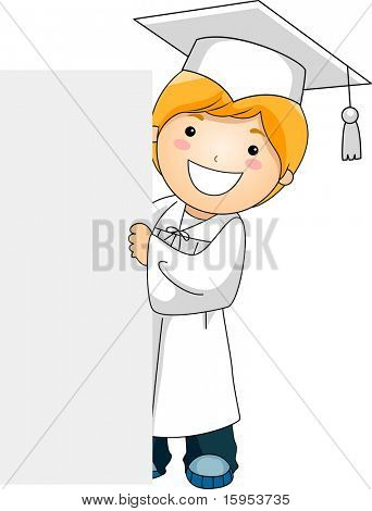 Illustration of a Kid Holding a Banner