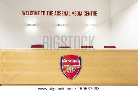LONDON, THE UK - MAY 2016: In the Media center of the Emirates Arena - the official  playground of FC Arsenal