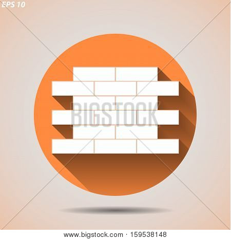 Construction Icon With Masonry On A Light Background