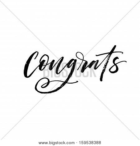 Congrats hand drawn lettering. Ink illustration. Modern brush calligraphy. Isolated on white background.