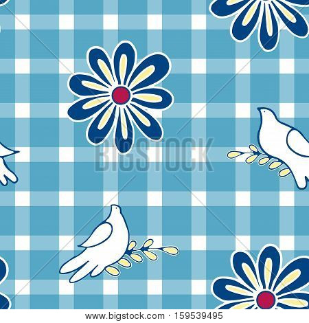 Floral background with hand drawn folk flowers and pigeon birds. Seamless Easter vector pattern for cushion pillow bandanna silk kerchief or shawl fabric print. Texture for clothes bedclothes