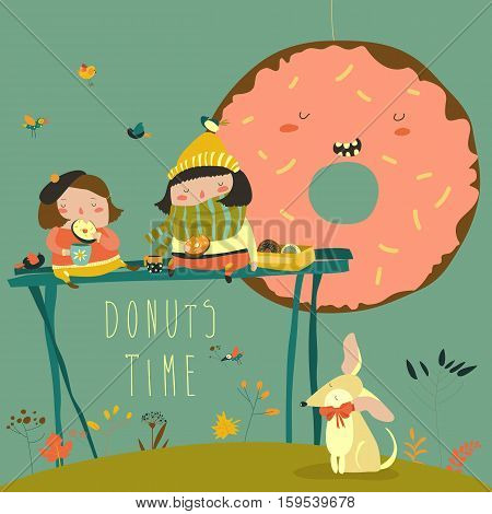 Cute girls enjoying tea time with donuts. Vector illustration
