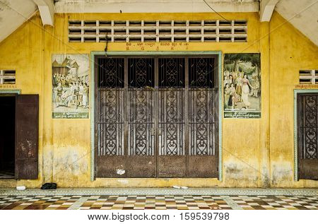 french colonial house building exterior detail in battambang old town cambodia