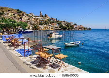 Scenic waterfront on the Greek island of Symi, Dodecanese, Greece.