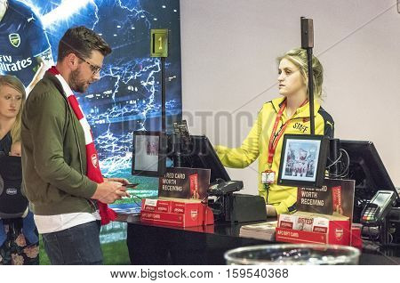 LONDON, THE UK - MAY 2016: In the official store at the Emirates Arena - the official  playground of FC Arsenal