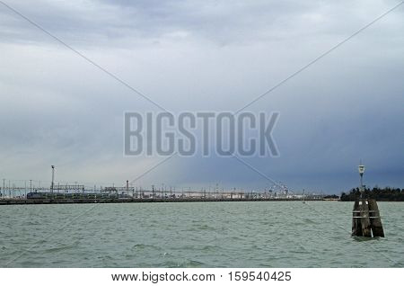 Freedom Bridge linking Venice to Mestre in the mainland, Italy