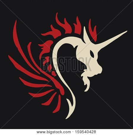 Dragon unicorn emblem fantasy animal logo background design vector stock