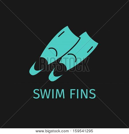 Swim fins line icon. Surfing green fins.