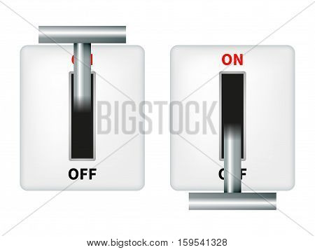 Vector illustration of an electric knife switch. Isolated on white background. Switch with metal handle.