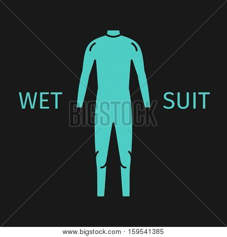 Wet suit line icon. Green surfing Suit.