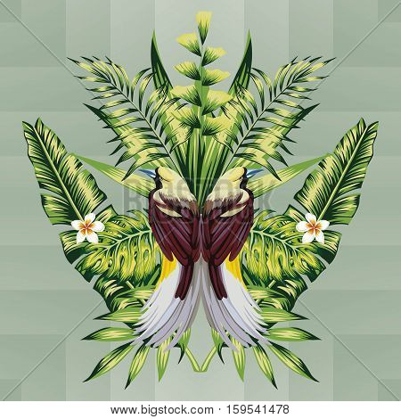 composition of beautiful hoopoe bird and tropical plants flowers plumeria and banana palm leaves on geometric background