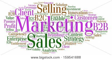 Word cloud around the theme Sales Marketing and Strategy
