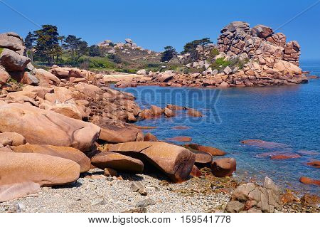 Pink Granite Coast In Brittany, France