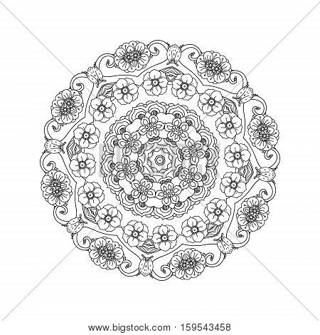 contoured asian style flowers in mandala shape. zen style picture for anti stress drawing or colouring book. Hand-drawn, retro, doodle, vector, for coloring book, poster or card design
