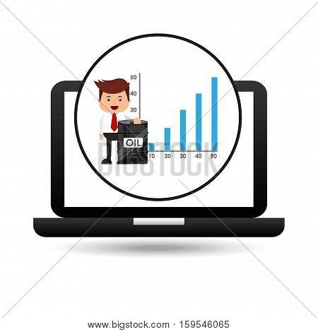 businessman oil technology barrel financial chart vector illustration eps 10