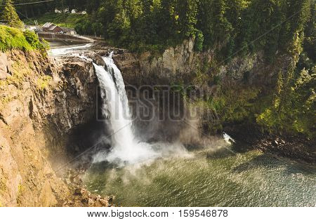 Snoqualmie Falls in Snoqualmie, Washington, USA. Summer daytime wide angle shot of the famous waterfall.