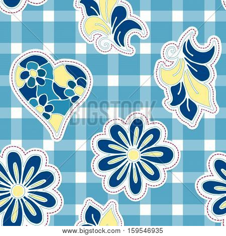 Floral background with hand drawn folk flowers. Seamless Easter vector pattern for cushion pillow bandanna silk kerchief or shawl fabric print. Texture for clothes bedclothes