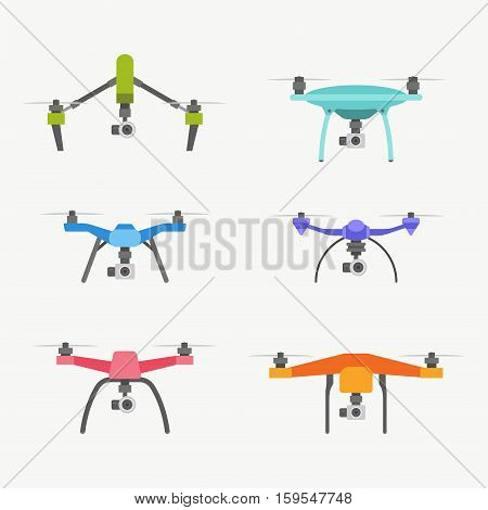Set of modern air drones. Flat cartoon vector illustration