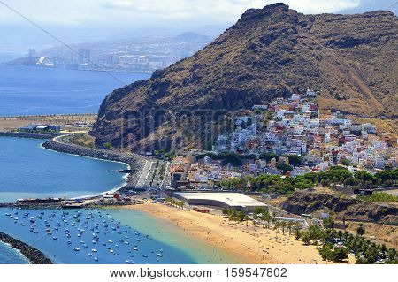 View on Las Teresitas beach near Santa Cruz de Tenerife in the north of Tenerife, Canary Islands, Spain.