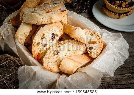 Traditional Christmas Baking Biscotti Or Cantucci