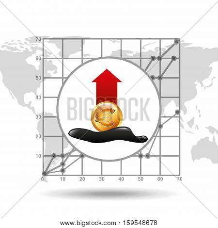 euro increase oil industry growth diagram background vector illustration eps 10