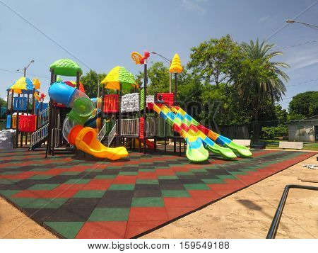BIG CORN ISLAND NICARAGUA-AUG. 25: The new children's playground with slides and ladders is seen in South End on Big Corn Island Nicaragua on August 15 2016.