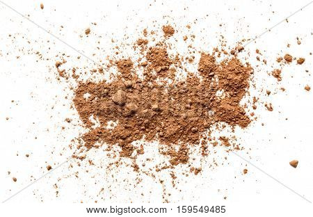 Cocoa powder on white