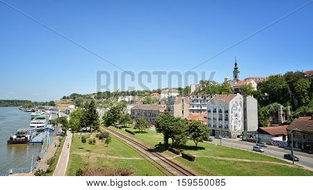 BELGRADE, SERBIA, JULY 4, 2014: Cityscape of Belgrade, the capital and largest city of Serbia. It is located at the confluence of the Sava and Danube rivers.