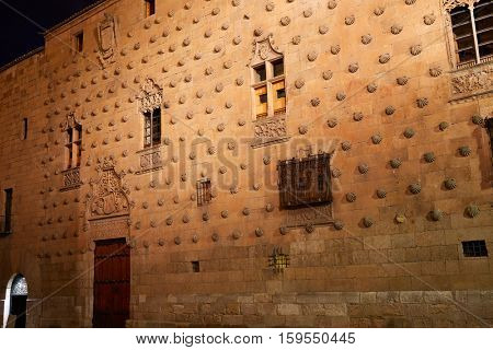 Casa de las Conchas shell house in Salamanca of Spain exterior image shot from public floor