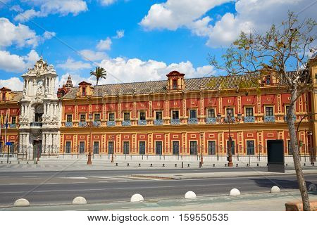 Seville Palacio de San Telmo in Andalusia of spain exterior image shot from public floor