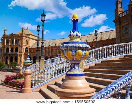 Seville Sevilla Plaza de Espana balustrade Andalusia Spain square exterior image shot from public floor